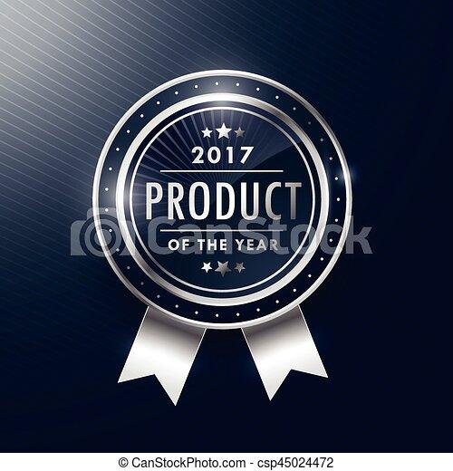 productetiket, ontwerp, jaar, badge, zilver - csp45024472