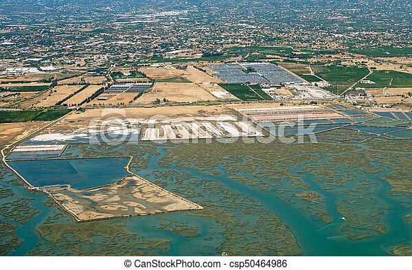 Production of sea salt in the Algarve region, Portugal. - csp50464986