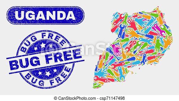 Production Uganda Map and Grunge Bug Free Watermarks - csp71147498