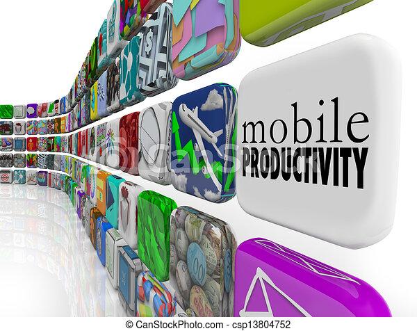 productivité, fonctionnement, mobile, apps, remotely, aller, logiciel - csp13804752