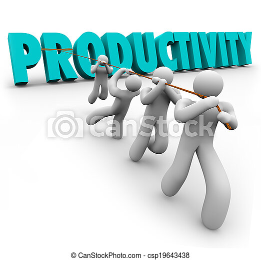 Productivity Word pulled up by workers lifting and cooperating together to achieve better or improving results toward a common goal such as success in business - csp19643438