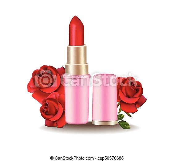 Producto Lapiz Labial Realista Ilustracion Rosas Cosmeticos