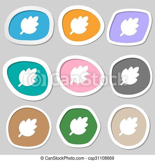 producto, symbols., natural, hoja, multicolor, papel, vector, fresco, stickers., icono - csp31108669