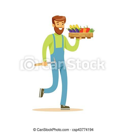 Hombre con helicóptero y caja de vegetales frescos, granjero trabajando en la granja y vendiendo en mercado natural de productos orgánicos - csp43774194