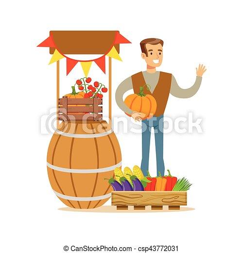 Un hombre con vegetales frescos, granjero que trabaja en la granja y vende productos orgánicos naturales - csp43772031