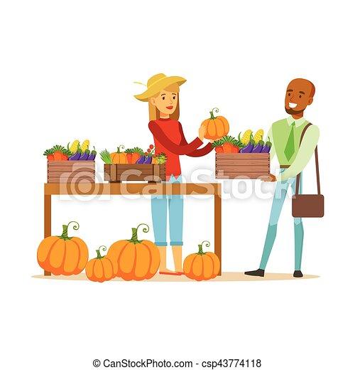Un hombre comprando verduras en un puesto de agricultores, un agricultor trabajando en la granja y vendiendo en el mercado natural de productos orgánicos - csp43774118