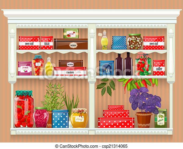 produire, nourriture, conservé, frais, bouteilles, maison, verre - csp21314065