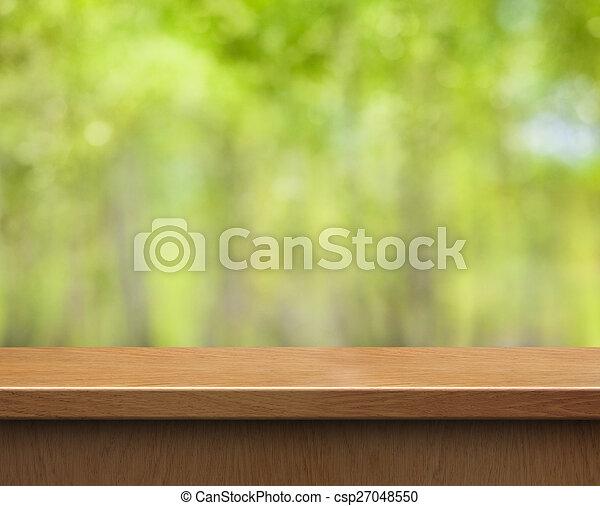 produit, brouillé, bois, arrière-plan vert, table, exposer, vide - csp27048550