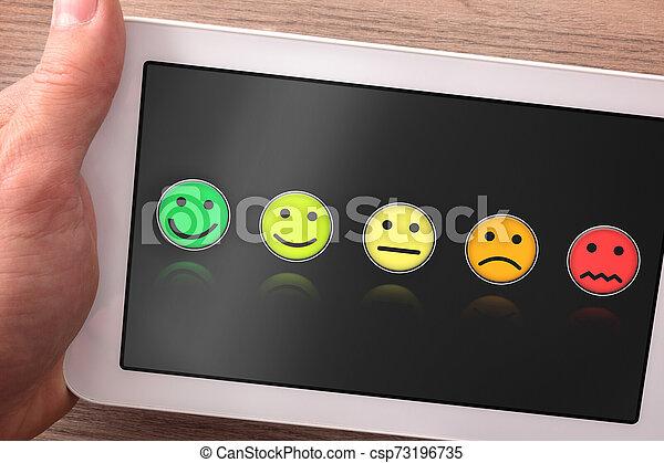 produit, tablette, service, satisfaction, évaluation, ou - csp73196735
