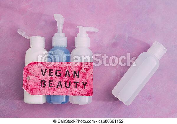 produits, message, beauté, étiquette, vegan, moisturizers, non, toner, concept, lotions, groupe, les, essai, animal, suivant - csp80661152