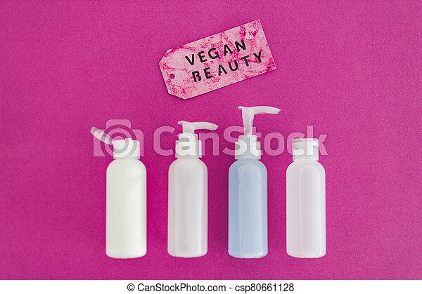 produits, message, beauté, étiquette, vegan, moisturizers, non, toner, concept, lotions, groupe, les, essai, animal, suivant - csp80661128