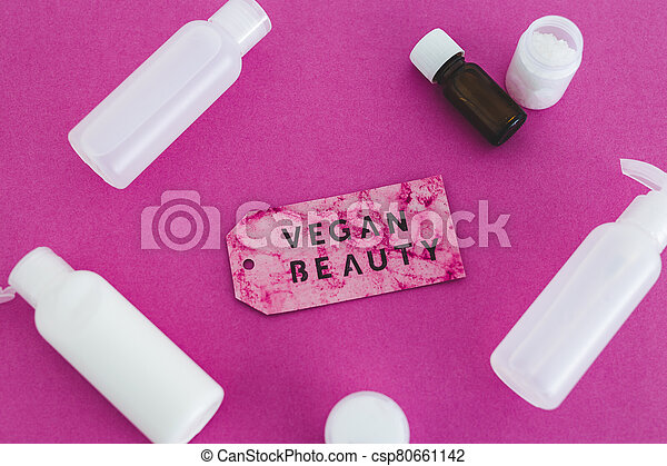 produits, message, beauté, étiquette, vegan, moisturizers, non, toner, concept, lotions, groupe, les, essai, animal, suivant - csp80661142