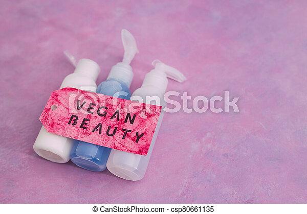 produits, message, beauté, étiquette, vegan, moisturizers, non, toner, concept, lotions, groupe, les, essai, animal, suivant - csp80661135