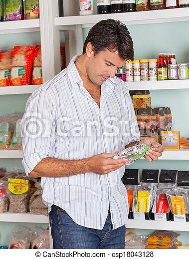 produkt, wählen, kaufmannsladen, mann - csp18043128