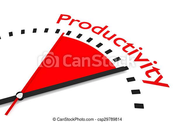 produtividade, relógio, segundos, área, ilustração, mão, vermelho - csp29789814
