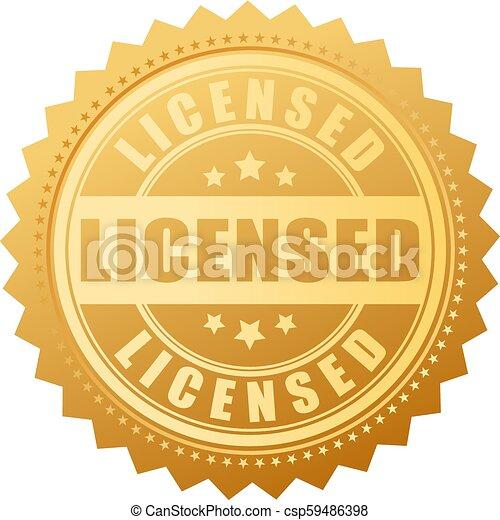 produto, vetorial, licenciado, selo ouro - csp59486398