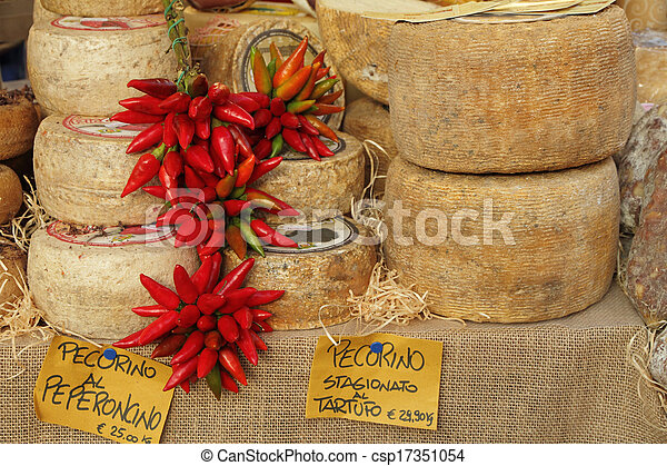 proeven, europa, (, tartuffo, peper, italië, peperoncino, ), kerstmis, tuscany, truffels, markt, pecorino, (chili, stagionato, kaas, al - csp17351054
