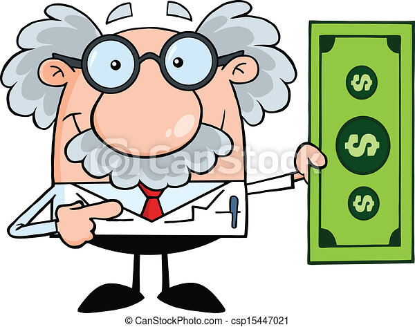 Profesor mostrando un billete de dólar - csp15447021