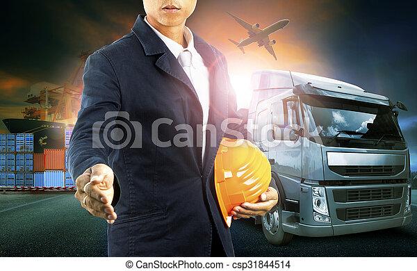 professinal, industrie, commercial, business, logistique, avion, transport camion, port, import-export, homme, récipient, fret, cargaison - csp31844514
