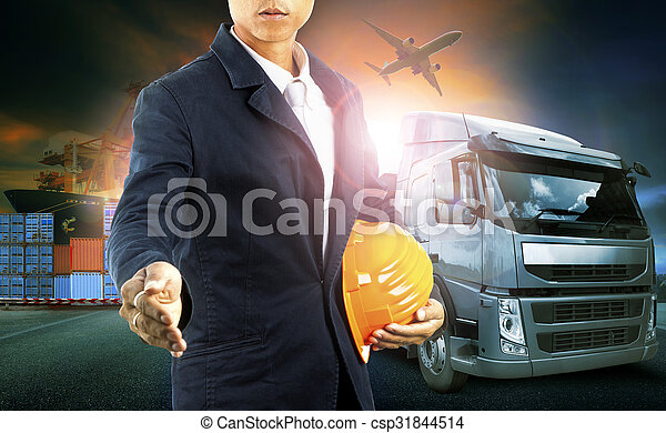 professinal man and container truck ,ship in port and freight cargo plane in transport and import-export commercial logistic ,shipping business industry  - csp31844514