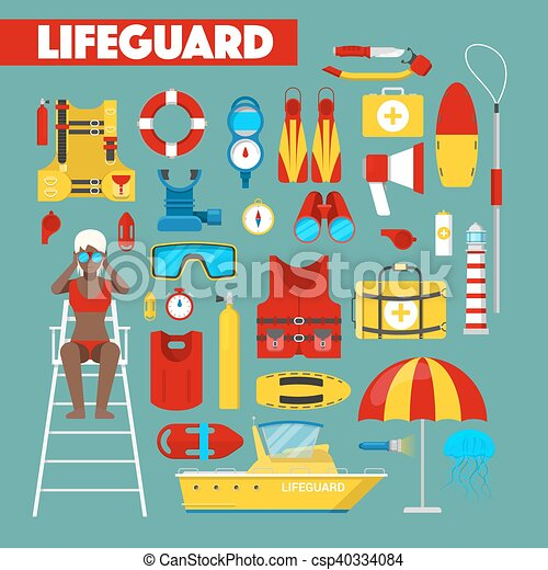 Profession Lifeguard Water Rescue with Safety Vector Icons - csp40334084