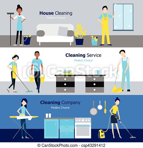 professional cleaning horizontal banners csp43291412