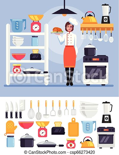 Professional cooking chef master cook woman character standing at kitchen  holding dish  Food kitchen interior tools icon set  Vector flat cartoon