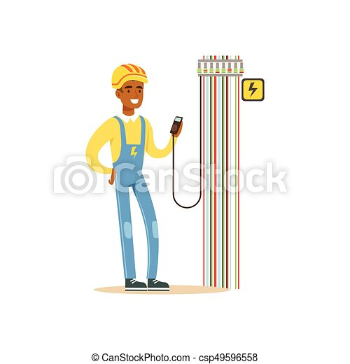 Professional electrician man character measuring the voltage output in fuse box, electrical works vector Illustration - csp49596558