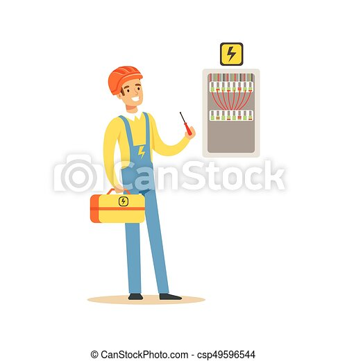 professional electrician man character screwing equipment in fuse fuse box clip art professional electrician man character screwing equipment in fuse box, electric man perforrming