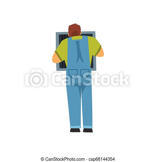 Professional Electrician Repairing Equipment in Fuse Box, Electric Man Character in Blue Overalls, Back View Vector Illustration - csp68144354
