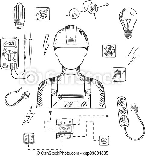 Professional Electrician With Tools And Equipment Vector