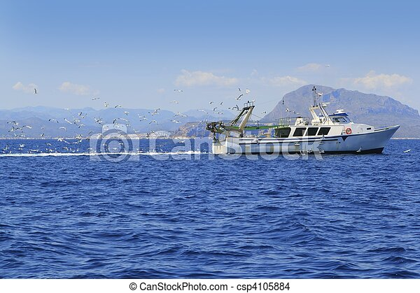 professional fisherboat many seagulls blue ocean - csp4105884