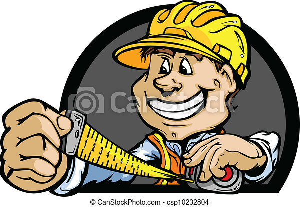 Professional Handy Man with Tape Measure and Hard Hat Vector Illustration - csp10232804