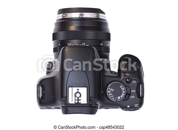 Professional modern DSLR camera isolated on white - csp48543022