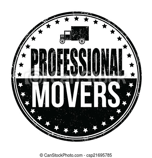 Professional Movers Stamp Grunge Rubber