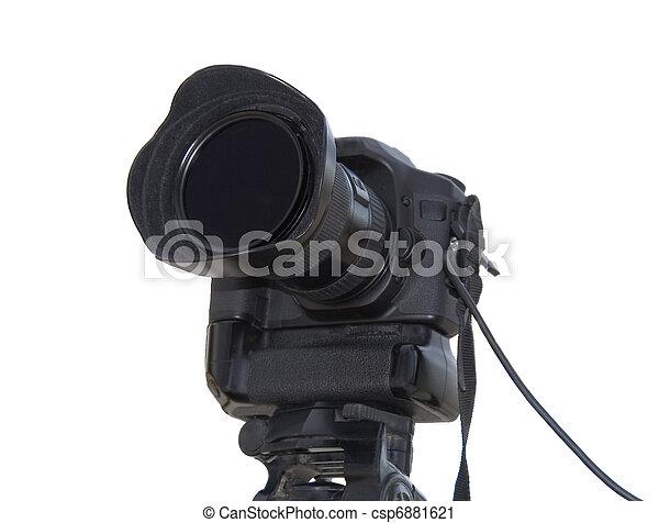 Professional photo camera isolated over white background - csp6881621