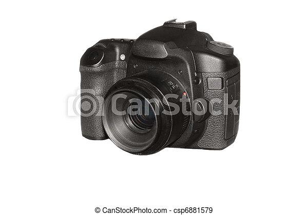 Professional photo camera isolated over white background - csp6881579