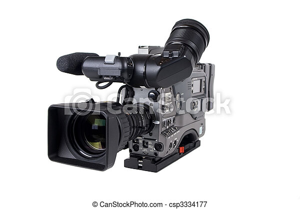 Professional Video Camera isolated on white - csp3334177