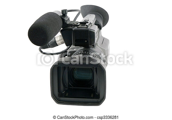 Professional Video Camera isolated on white - csp3336281