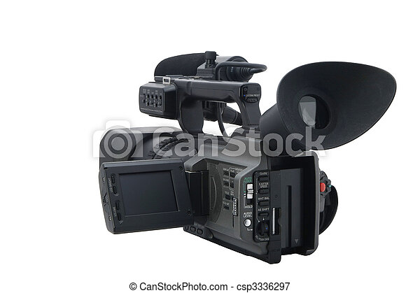 Professional Video Camera isolated on white - csp3336297