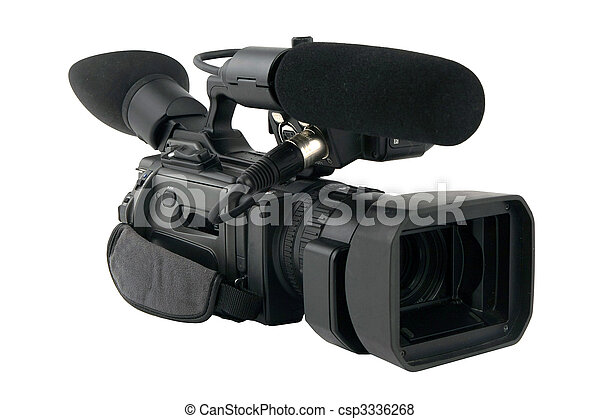 Professional Video Camera isolated on white - csp3336268