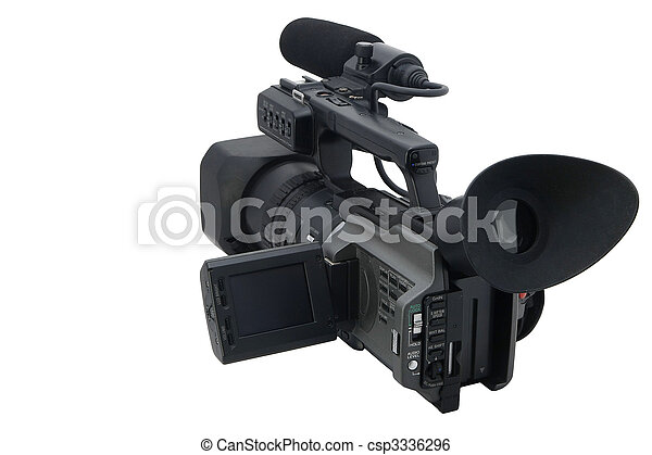 Professional Video Camera isolated on white - csp3336296