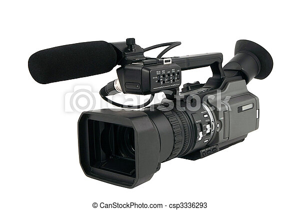 Professional Video Camera isolated on white - csp3336293