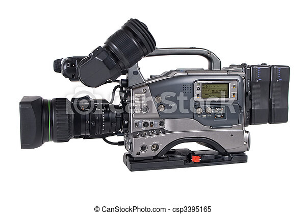 Professional Video Camera isolated - csp3395165