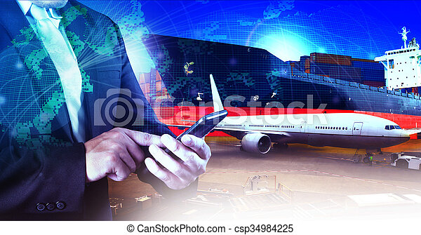 professional working man in air freight ,cargo logistic and industries transportation business - csp34984225