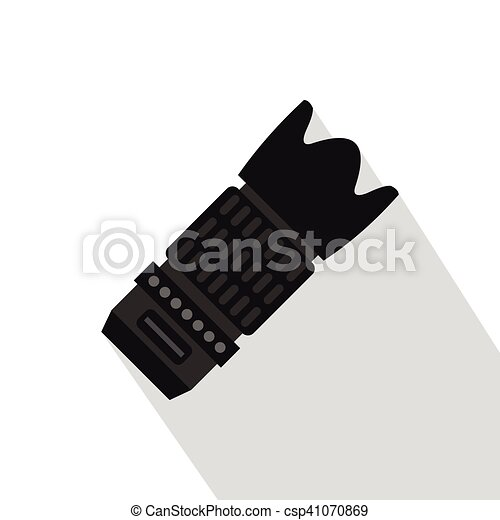 Professional zoom lens icon, flat style - csp41070869