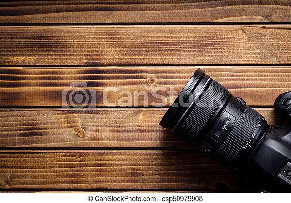 professionale, macchina fotografica, lens. - csp50979908