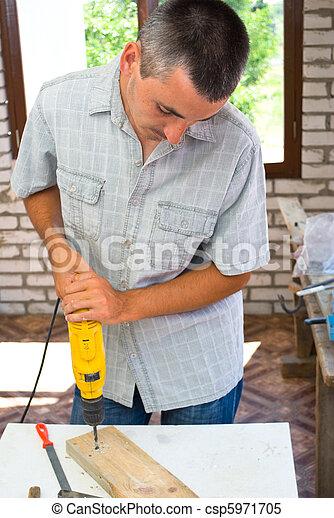 professioneel, man, drill. - csp5971705