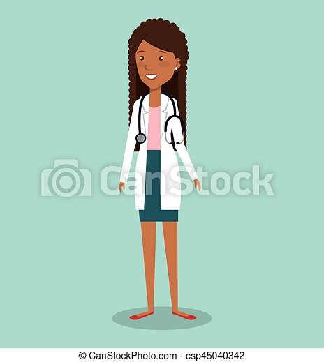 professionelle frau, avatar, doktor - csp45040342