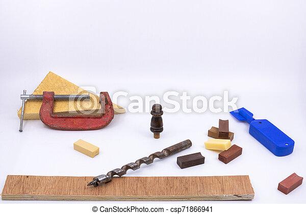 professionnels, charpenterie, confection, objets, -, vente, isolé, équipement, construction, bricolage, fond, blanc, cabinet, marquetry - csp71866941